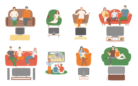 TV television watching, people sitting on couch enjoying film vector. Family and couples spending time at home looking at screen monitor entertainment 版權商用圖片 - 126842976