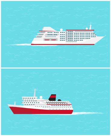 Wassertransport fahrende Fahrzeuge bedeutet Vektor