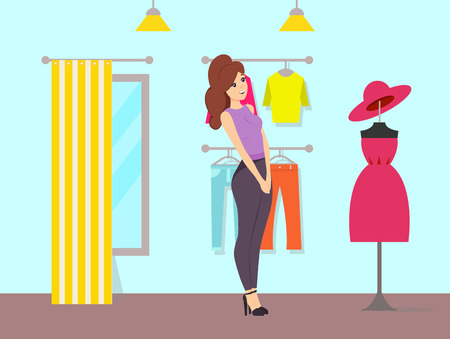 Woman admiring dress and hat on mannequin vector. Store with changing room, curtain and mirror. Clothes shop with trousers and sweaters on hanger