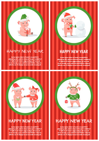 New Year of pig 2019 winter holiday festive postcard. Symbolic animal in clothes of Santa hat and scarf with mittens, snowman and Christmas gift box vector Illusztráció