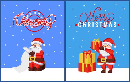 Christmas Greeting Cards with Santa and Gifts Illustration