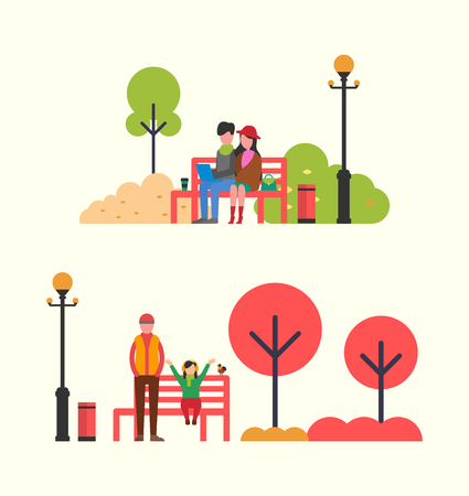 People spending time sitting on red bench in park and family walking near fountain. Woman and man, brother and child, work and rest vector illustration