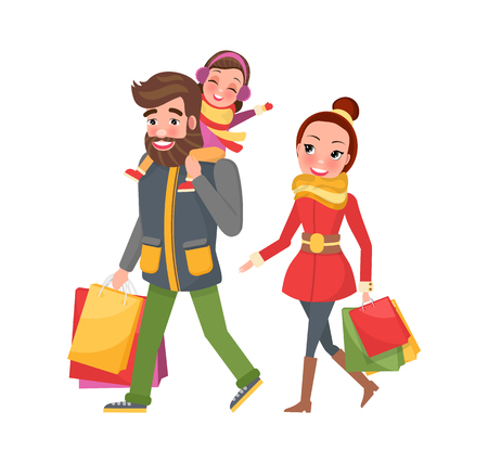 Christmas family shopping day. Woman in red overcoat with yellow scarf and man in jacket and green trousers with child sitting on shoulders vector Illustration
