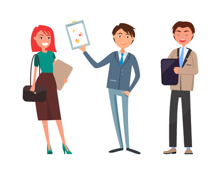 Business plan presentation, working woman and man vector. Businessman and businesswoman with documents, boss showing paper with strategy planning