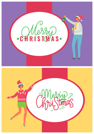 Merry Christmas postcards with people dancing at corporate fest celebrating holidays. Vector cartoon style characters on party, man and woman in Santa hats