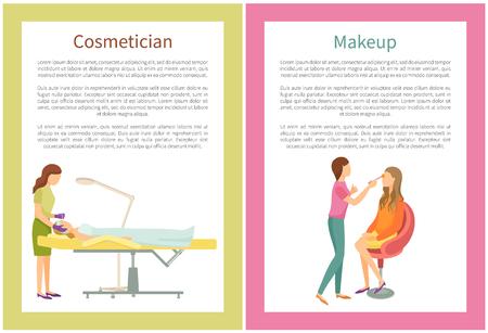 Servicios de maquillaje y esteticista en carteles de salón de spa con texto. Visagiste especialista y vector de clientes. Procedimientos en la piel de la cara, cuidado de la moda del rostro. Ilustración de vector
