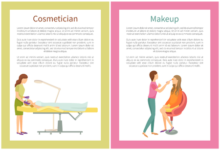 Makeup and cosmetician services in spa salon posters with text. Visagiste specialist and clients vector. Procedures on face skin, visage fashion care