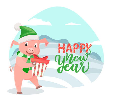 Greeting Card with Pig Wishing Happy New Year