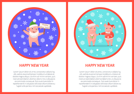 New Year, Pig in Santa Costume, Zodiac Animals 向量圖像