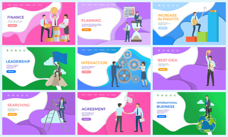Finance achievements, businessman working set vector. Searching and interaction with workers and partners, best idea agreement, international business