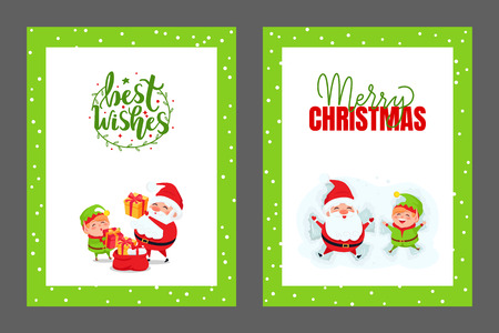 Best Wishes and Merry Christmas cards with Santa. New Year postcards with Elf spreading holiday spirit. Vector cartoon characters giving gifts from sack Ilustrace