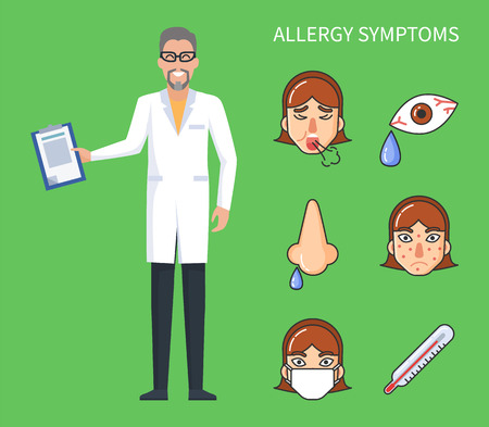 Allergy symptoms poster, cough and rhinitis with high temperature and headache. . Seasonal flu symptoms vector poster with doctor and fever symbols Illustration