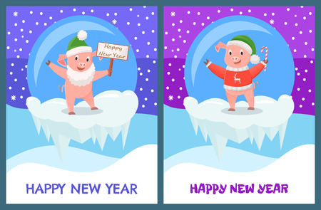 Happy New Year, Pig in Glass Ball Winter Toy Set Illustration