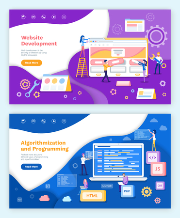 Website development, algorithmization and programming vector. Screen of laptop with information, coders with html, css and java script. Coders set Stok Fotoğraf - 126843018