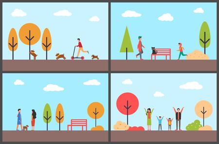 가을 공원에서 즐거운 시간을 보내는 사람들, 가족의 날 벡터 (일러스트)