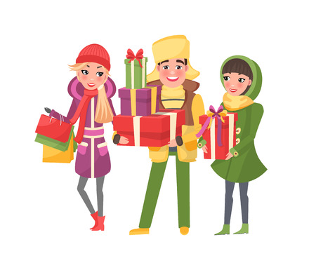 Christmas shopping happy people with presents vector. Xmas preparation, winter holiday approaching, man carrying gift boxes decorated with tape bows Vectores