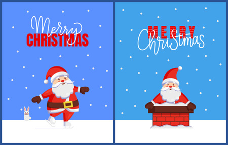 Merry Christmas cards with Santa look out from chimney. Vector cartoon image of Jack Frost with hare helper. Character of Father Xmas in stovepipe