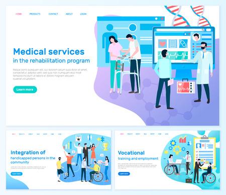 Medical services, rehabilitation program, integration of handicapped persons in community, vocational training and employment vector illustration Vektoros illusztráció