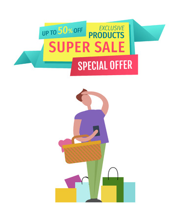 Super Sale Special Offer Man Vector Illustration