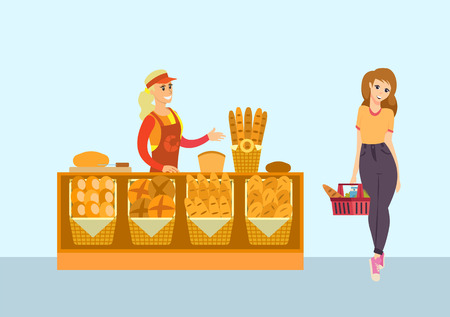 Supermarket bakery department and client vector. Seller with bread, baguette and buns, pretzels and donuts variety. Customer holding basket and meal