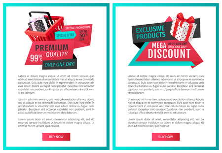 Fixed price only one day offer web page templates vector. Shopping basket with gift box, ribbons and text, promotion of products. Save money on sales