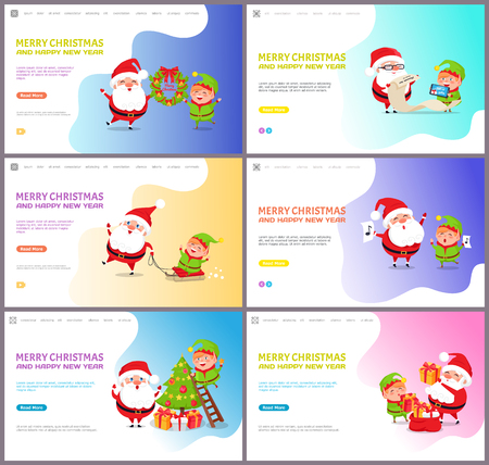 Merry Christmas Santa Claus and elf winter holiday vector. Characters with mistletoe wreath and tree decoration, list with children who get presents