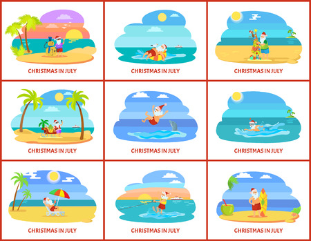 Christmas winter holiday celebrating in summer vector. Santa Claus character with presents and gifts in form of tree, surfing board and palm trees Stock Illustratie
