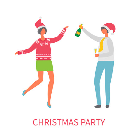 Christmas party celebration, man with glass of champagne, woman in Santa Claus hat dancing in cartoon style. Colleagues at corporative, isolated vector Stock Vector - 126843040