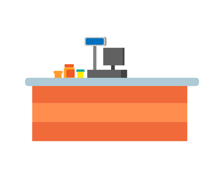 Empty seller counters and desks of cashier vector. Supermarket cash desk with computer, jars and glasses with products on desktop in store isolated icons