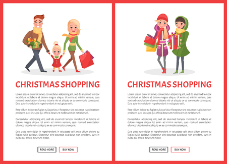 Christmas shopping preparation to winter holiday celebration vector. Family mother and father with paper bags, packages from markets, xmas celebration Vektorové ilustrace