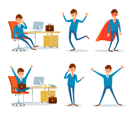 Man Hero with Cloak and Businessman Working Office Ilustração