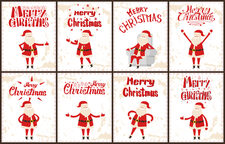 Santa Claus stickers set, cartoon character on grunge backdrop. Merry Christmas wintertime vector greeting cards with dancing, sitting on armchair, showing ok sign man 일러스트