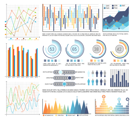 Pie diagrams with segments and flowcharts set vector. Visualisation of business results, data in visual form. Percentage and numeric info statistics Ilustracja
