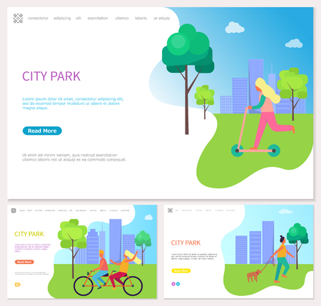 Girl in sweater going scooter on grass. Riding friend on bicycle near skyscraper. Woman walking in the city park near trees and buildings vector 일러스트