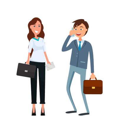 Compañeros de trabajo, hombres hablando por teléfono, mujeres en ropa formal con maletín en manos sonriendo. Socios comerciales hombre y mujer en estilo de dibujos animados de diseño plano.