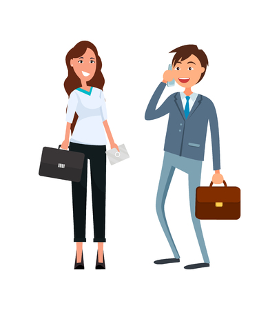 Coworkers, male speaking on phone, female in formal wear with briefcase in hands smiling. Business partners man and woman in flat design cartoon style.