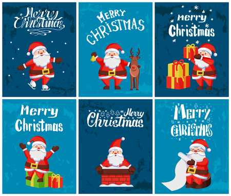 Merry Christmas, Santa Claus with presents gifts decorated with ribbons set vector. Winter character with reindeer, in chimney, reading list of kinds