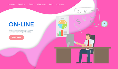 On-line support, man working on laptop analyzing charts. Businessman on working place consulting via internet, mobile consultations vector web page
