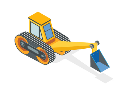 Excavator Construction Machine with Dig Bucket Illustration