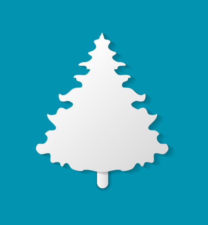 Christmas paper cut small white fir-tree on blue background. Holiday classic simple handmade element, spruce or fir decoration for celebration vector Standard-Bild - 126843055