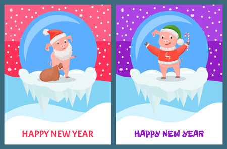 Happy New Year, Pig Carrying Sack with Presents