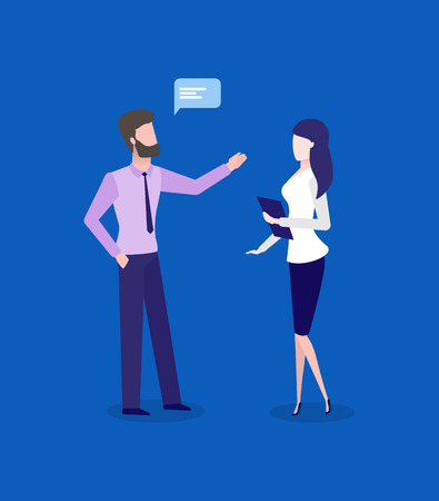 Office workers, man and woman, business talk or conversation. Employees discussing work, male and female characters, marketing vector illustration