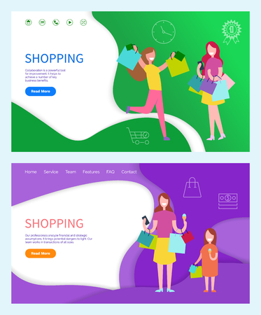 Shopping day women in yellow and purple t-shirt with skirt and trousers. Child holding bags near lady with packages and phone vector colored background Stock Vector - 126843060