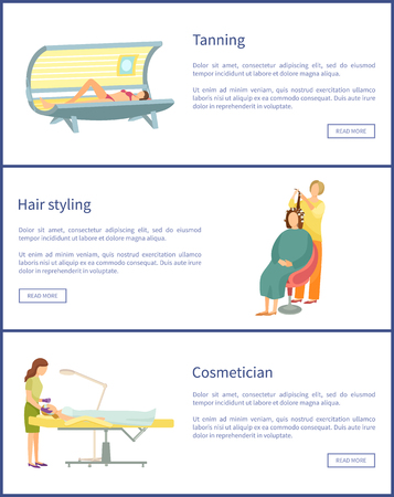 Tanning and hair styling posters set text sample vector. Hairdresser making wavy curly hair to woman client in chair. Cosmetician and lady on table