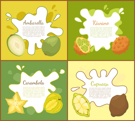 Ambarella and kiwano set of posters with text sample. Carambola and cupuacu tropical succulent product. Exotic fruits delicious healthy meal vector