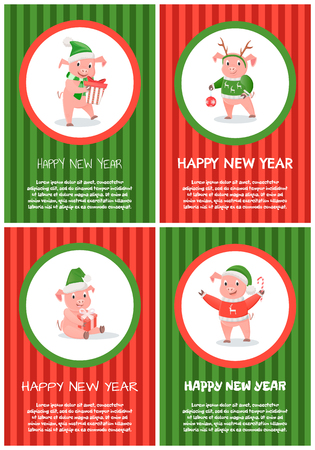 New Year Small Piglet Playing with Bauble Toy Illustration