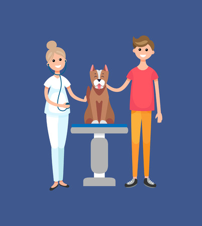 Veterinarian doctor in vet clinic with patient vector. Woman with man and dog sitting on table, animals domestic mammals hospital and care treatment