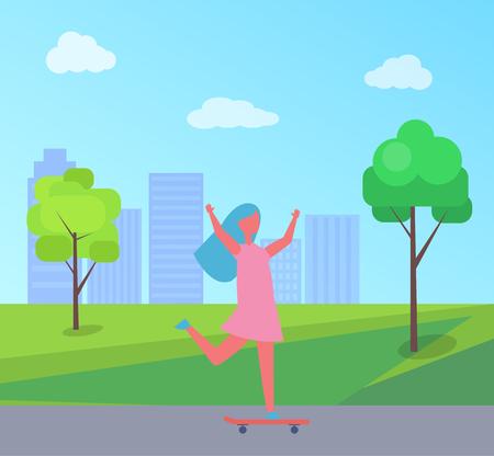 Ilustración de vector de chica skate de rascacielos y árboles verdes. Niño vestido divirtiéndose en patineta, jugando al aire libre en el parque de la ciudad