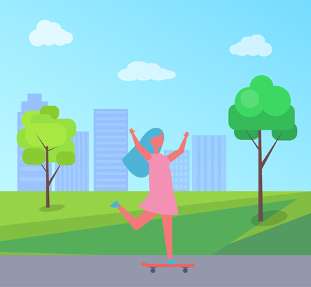 Girl skateboarding vector illustration of skyscrapers and green trees. Child in dress having fun riding on skateboard, playing outdoor in city park Illustration