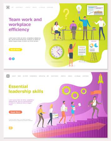 Teamwork and workplace efficiency, startup vector. Leadership leading people, man and rocket symbol of innovation and new beginnings. Business process